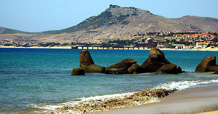 Porto Santo beach and Vila Baleira from the Marina